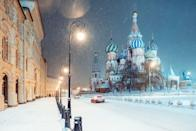 <p>An empty Red Square in Moscow, with St. Basil's Cathedral in the background.</p>