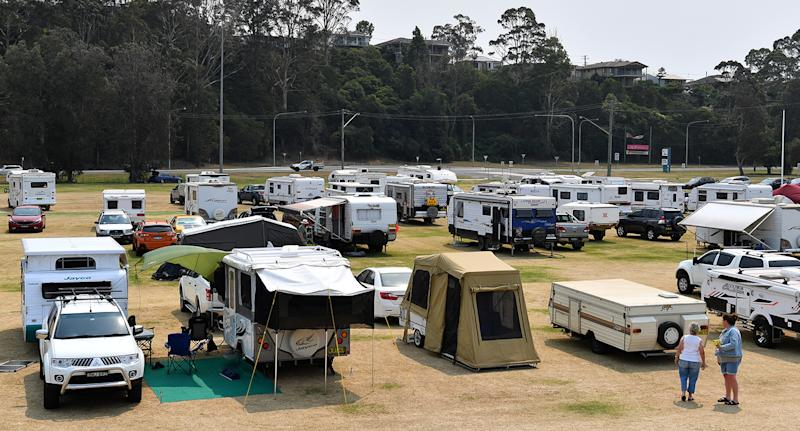 The rapidly filling evacuation centre at Batemans Bay. The South Coast region was devastated on NYE by bushfire and is under threat again with extreme fire danger, high temperatures in the 40's and strong westerly winds expected. Source: AAP