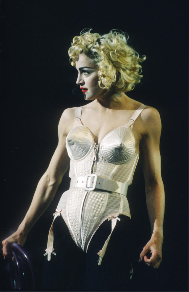 <p>Arguably her most iconic look of all time, this Jean Paul Gaultier cone bra corset was debuted during Madonna's 'Blonde Ambition' tour. <em>[Photo: Getty]</em> </p>