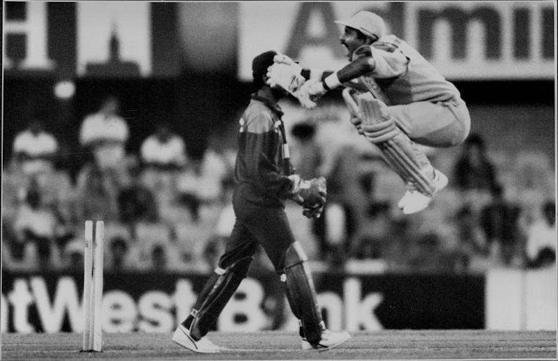 Trouble brewing ...Pakistan batsman Javed Miandad, right, opts for a spot of mimicry in front of Indian wicketkeeper Kiran More to show his disdain after an unsuccessful appeal by the gloveman. March 04, 1992. (Photo by Craig Golding/Fairfax Media via Getty Images).