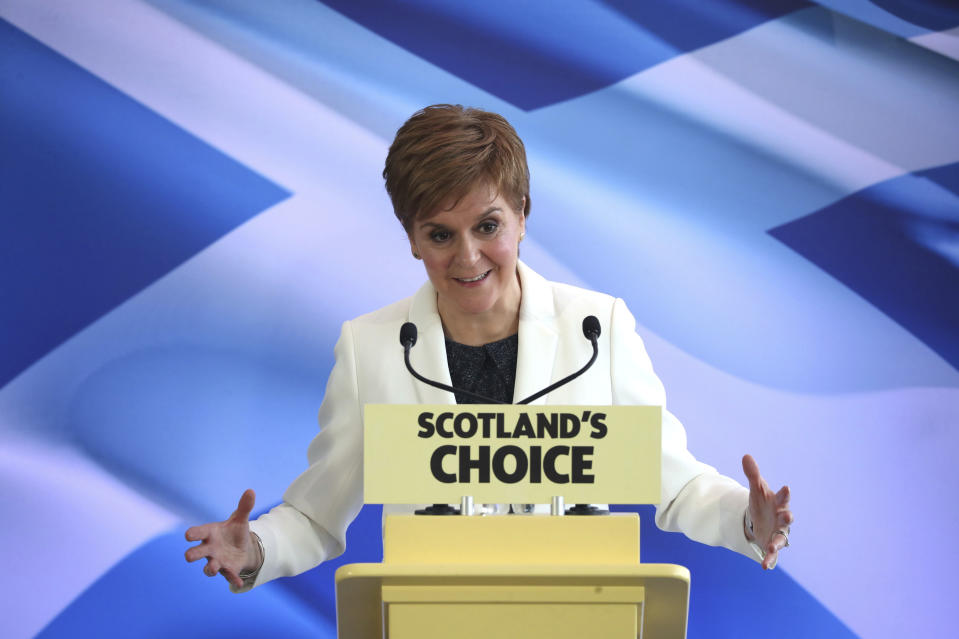 Scotland's First Minister Nicola Sturgeon speaks during an event at the Ozone, Our Dynamic Earth, in Edinburgh, Friday Jan. 31, 2020, to outline Scottish independence plans on the day that the UK is set to leave the European Union. (Jane Barlow/PA via AP)