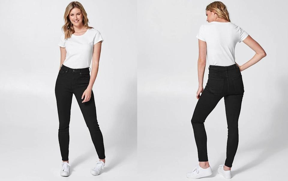 DENIM Shape Your Body Skinny High Rise Full Length Jeans - Stay Black. Picture: Target