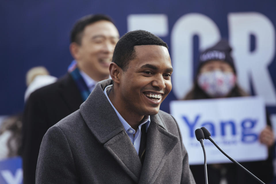 Newly-elected member of Congress Ritchie Torres announces that he is endorsing mayoral candidate Andrew Yang during a press conference in Morningside Park on Thursday, Jan. 14, 2021, in New York. (AP Photo/Kevin Hagen).