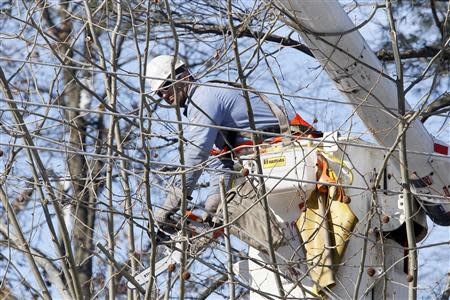 A Philadelphia Electric Company linesman clears away tree limbs as he and other linesmen prepare to repair utility lines that caused a power outage in Upper Dublin Township, Pennsylvania, February 7, 2014. REUTERS/Tom Mihalek