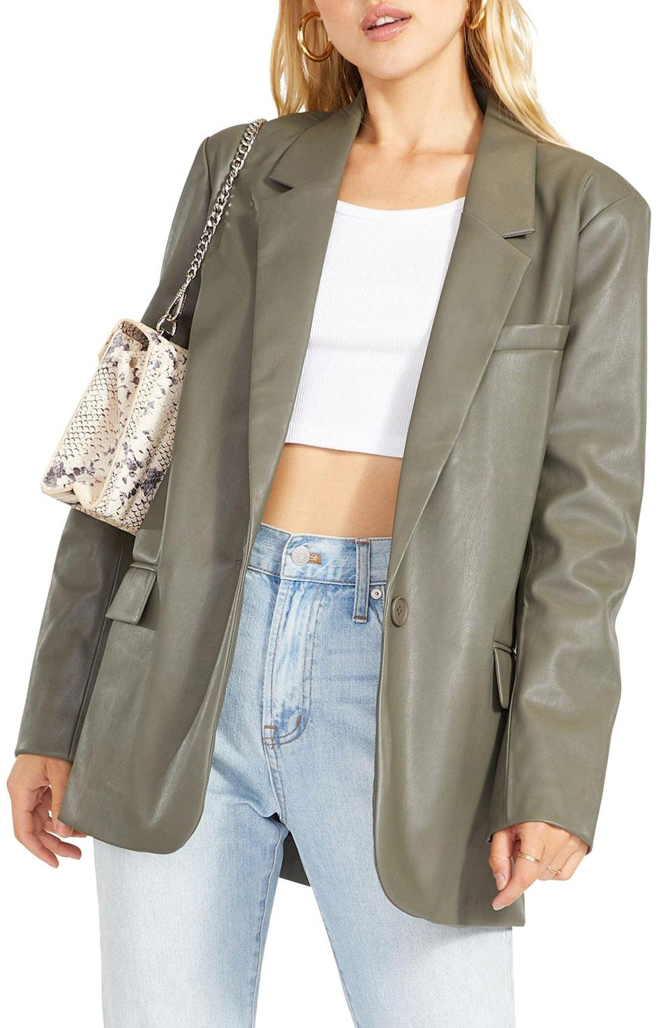 <p>This <span>BB Dakota Who's in Charge Faux Leather Blazer</span> ($109) features a slight sheen that makes it stand out.</p>