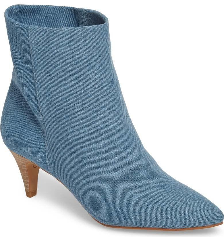 """Get them at <a href=""""https://www.dolcevita.com/product/DEEDEE-BOOTIES/249919.uts?selectedColor=DENIM"""" target=""""_blank"""">Dolce Vita</a>for $150."""