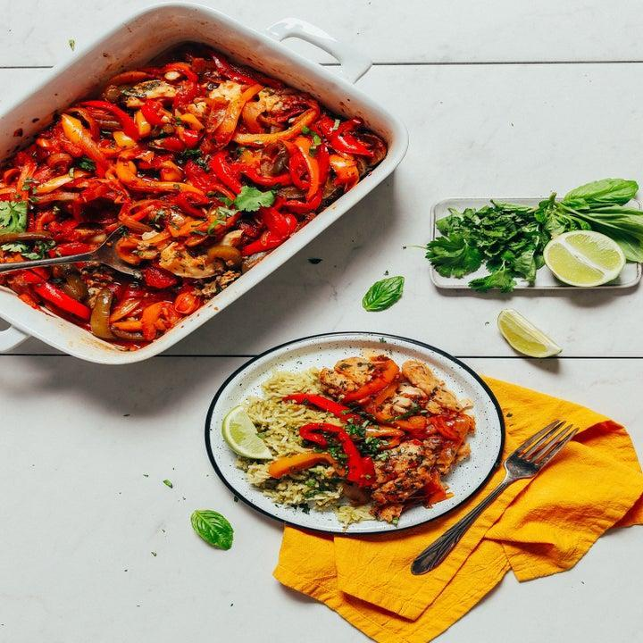 Herb baked fish with peppers.
