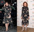 <p>Kate Middleton looked feminine and sophisticated, pairing her black floral Leith x Orla Kiely dress with simple nude accessories in 2018. Comedian Sandra Bernhard had already put her unique spin on the dress, wearing it to an event in 2017 with eye-catching velvet booties.</p>