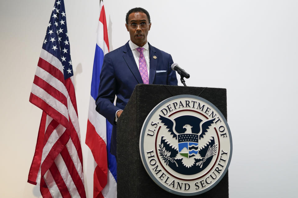 David A. Prince, Special Agent in Charge Homeland Security Investigations in Los Angeles, speaks during a ceremony to return two stolen hand-carved sandstone lintels dating back to the 9th and 10th centuries to the Thai government Tuesday, May 25, 2021, in Los Angeles. The 1,500-pound (680-kilogram) antiquities had been stolen and exported from Thailand — a violation of Thai law — a half-century ago, authorities said, and donated to the city of San Francisco. They had been exhibited at the San Francisco Asian Art Museum. (AP Photo/Ashley Landis)