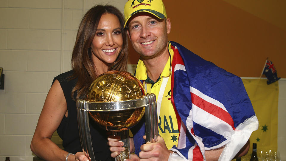 Michael and Kyly Clarke, pictured here after the 2015 Cricket World Cup final.