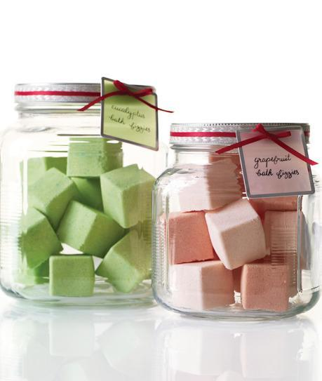 Using an ice cube tray as a mold, make these scented bath fizzies with Martha Stewart's recipe and pop them into jars as gifts. [Photo: Martha Stewart]