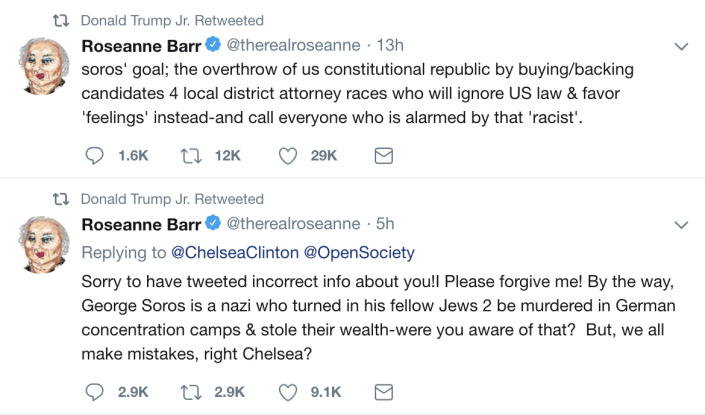 Donald Trump Jr. retweeted two of Roseanne Barr's claims about George Soros on Tuesday.
