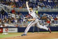 Atlanta Braves' Mike Soroka delivers a pitch during the first inning of a baseball game against the Miami Marlins, Friday, June 7, 2019, in Miami. (AP Photo/Wilfredo Lee)
