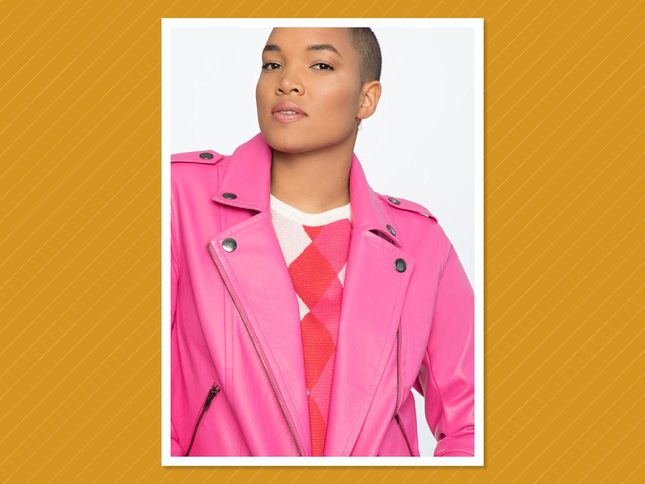 "<p>This classic-fit faux-leather jacket in pink is a cool investment piece you'll wear over and over. (Photo: Eloquii)<br /><a rel=""nofollow"" href=""https://fave.co/2AdoKNc""><strong>SHOP IT:</strong></a> $75 (was $150), <a rel=""nofollow"" href=""https://fave.co/2AdoKNc"">eloquii.com</a> </p>"