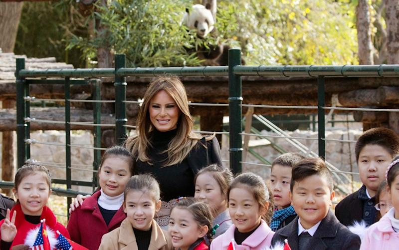 A panda 'photobombs' Melania Trump at Beijing Zoo - AP