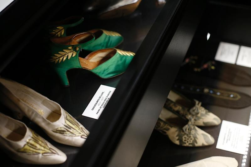Shoes are pictured during an exhibition of the wardrobe of Elisabeth, Countess Greffulhe, who used her formidable social connections to support the scientist Marie Curie, the first woman to win a Nobel prize (AFP Photo/Thomas Samson)