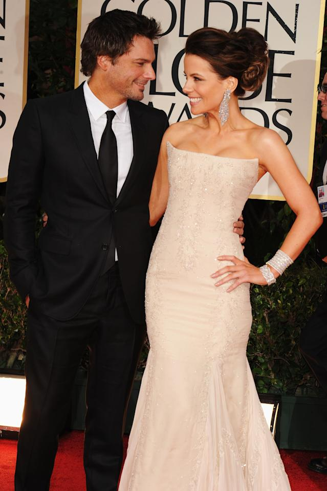 Director Len Wiseman and wife actress Kate Beckinsale arrive at the 69th Annual Golden Globe Awards held at the Beverly Hilton Hotel on January 15, 2012 in Beverly Hills, California.  (Photo by Steve Granitz/WireImage)