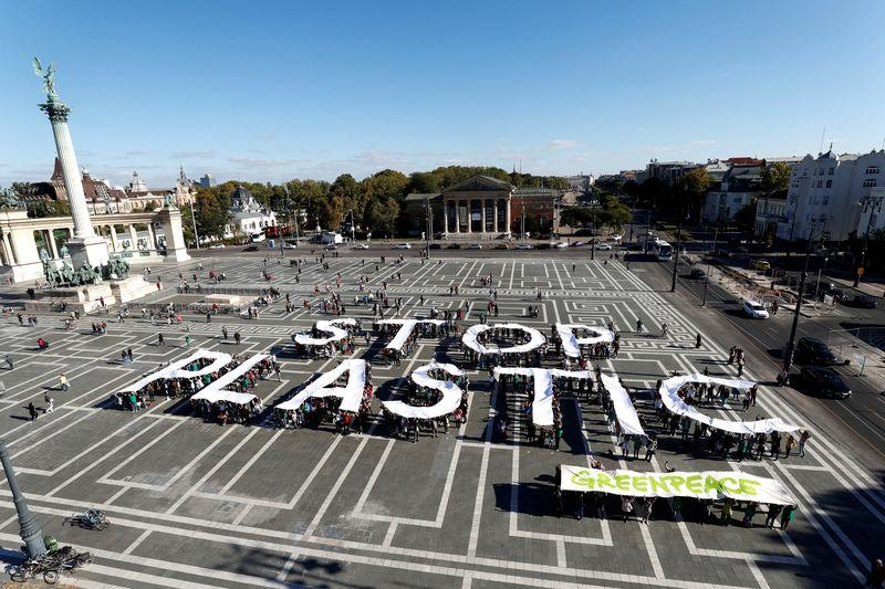 FILE PHOTO: Greenpeace holds a demonstration against plastic waste at the Heroes Square in Budapest