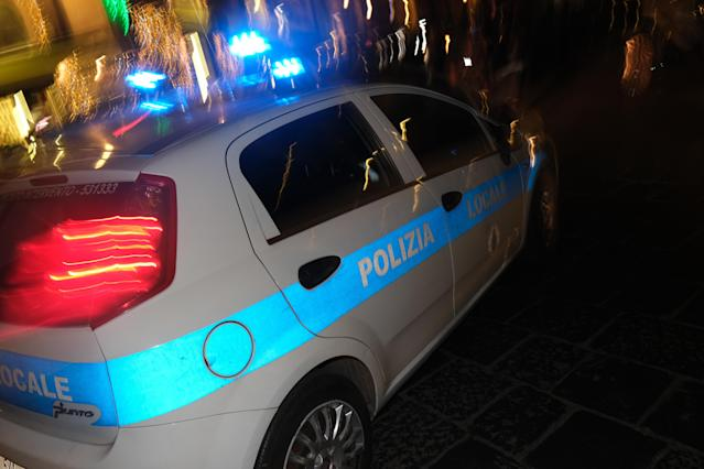 Close up of ialian police car on the street of Sicilia by night.