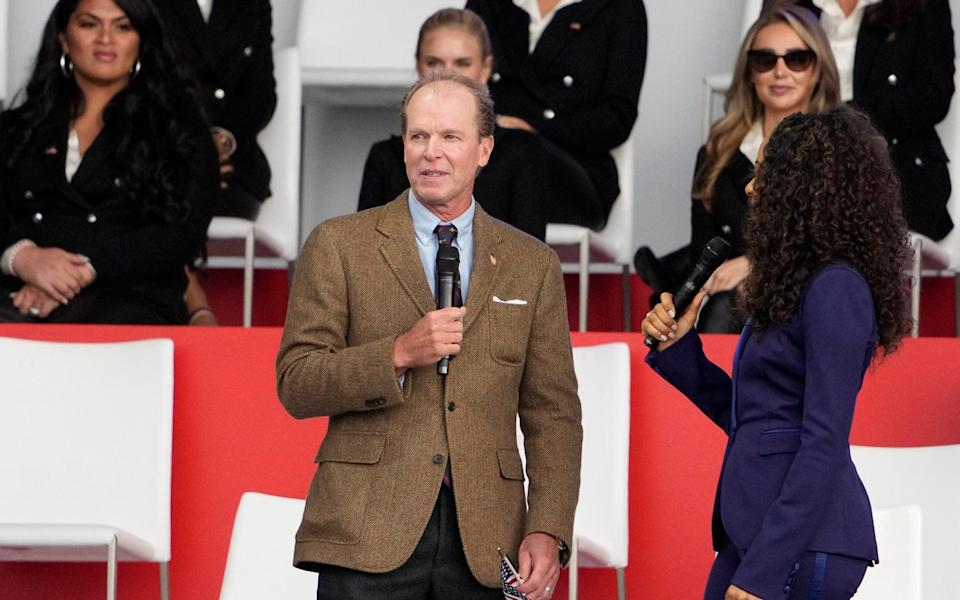 Team USA captain Steve Stricker speaks during the opening ceremony for the Ryder Cup at the Whistling Straits Golf Course Thursday, Sept. 23, 2021, in Sheboygan - AP