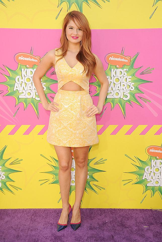 """""""Jessie"""" actress Debby Ryan wowed in her <span>summery Topshop frock and Jean Michel Cazabat shoes. <br></span>"""