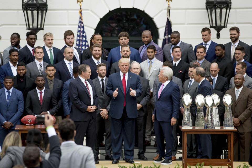 President Donald Trump reportedly was angry after discovering Tom Brady wouldn't attend a White House celebration in 2017 after the New England Patriots' Super Bowl LI win. (AP)