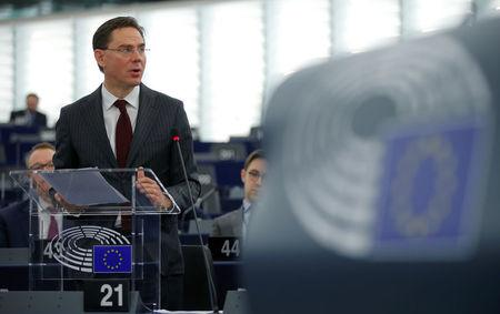 European Commission Vice President Jyrki Katainen addresses the European Parliament during a debate on the US decision to impose tariffs on steel and aluminium in Strasbourg, France March 14, 2018.  REUTERS/Vincent Kessler