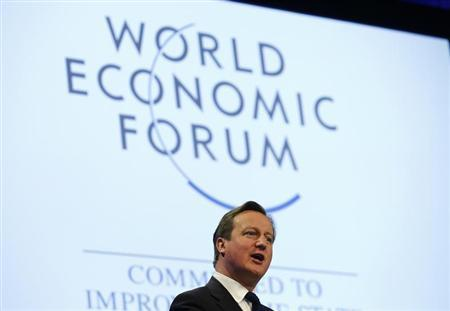 Britain's Prime Minister David Cameron speaks during a session at the annual meeting of the World Economic Forum (WEF) in Davos January 24, 2014. REUTERS/Denis Balibouse
