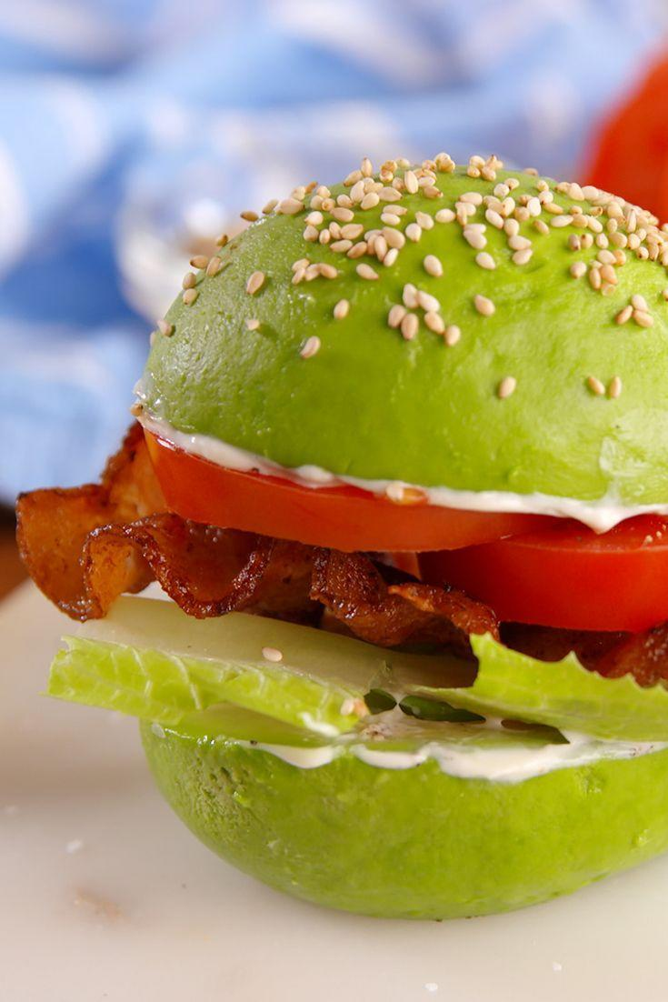 "<p>We're ALL about those healthy fats.</p><p>Get the recipe from <a href=""/cooking/recipe-ideas/recipes/a51709/avocado-bun-blt-recipe/"" data-ylk=""slk:Delish"" class=""link rapid-noclick-resp"">Delish</a>.</p>"