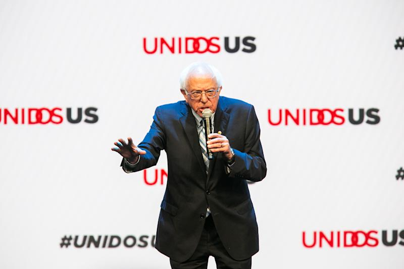 Sen. Bernie Sanders speaks at the UnidosUS ''Vision 2020: A Conversation With the Candidates'' on Aug. 5, 2019 at the San Diego Convention Center in San Diego, Calif. (TNS via ZUMA Wire)