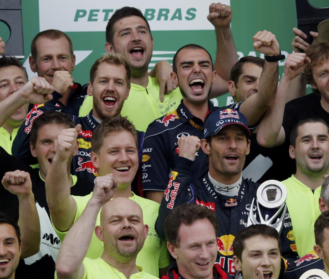 The Red Bull Formula One team poses for pictures after winning the Brazilian F1 Grand Prix and the overall standings at the Interlagos circuit in Sao Paulo November 24, 2013. REUTERS/Nacho Doce (BRAZIL - Tags: SPORT MOTORSPORT F1)