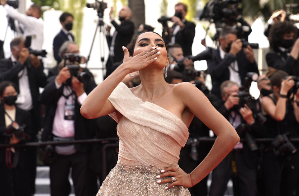 Diipa Khosla poses for photographers upon arrival at the premiere of the film 'Everything Went Fine' at the 74th international film festival, Cannes, southern France, Wednesday, July 7, 2021. (AP Photo/Brynn Anderson)