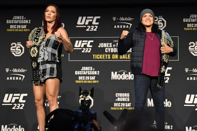 Cris Cyborg and Amanda Nunes pose for the media during the UFC 232 press conference inside Hulu Theater at Madison Square Garden on Nov. 2, 2018 in New York. (Getty Images)
