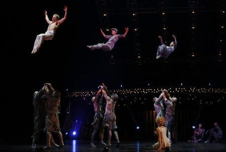 Artists perform during a dress rehearsal for Quidam, a show by Cirque du Soleil, at the Royal Albert Hall in London