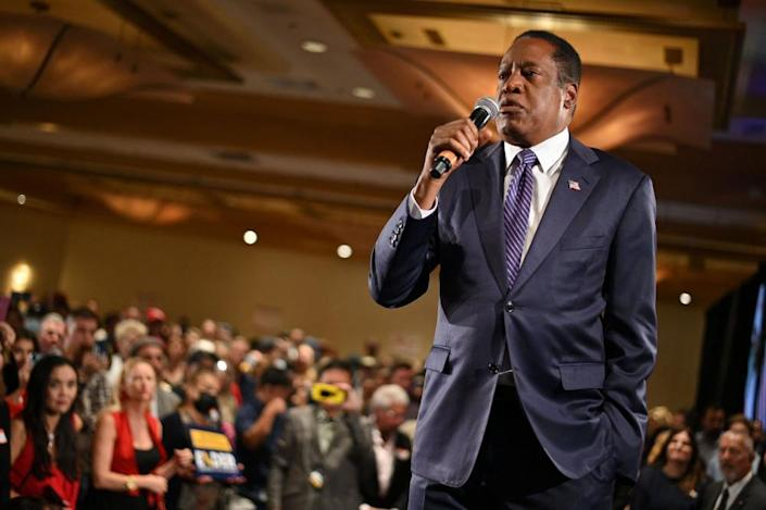Larry Elder, a rightwing radio host, speaks at his election night party in Costa Mesa, California .