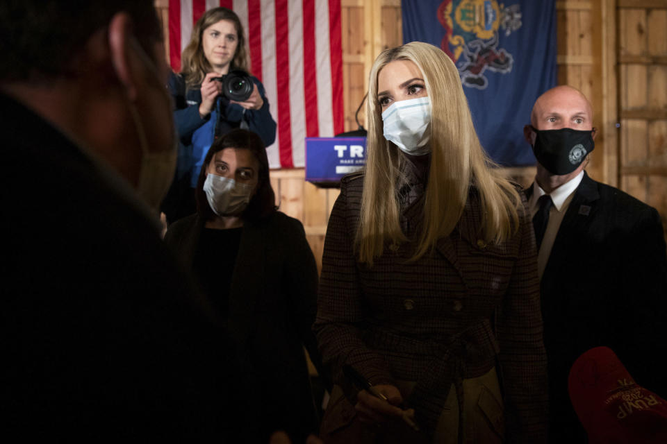 Ivanka Trump greets supporters following an appearance at New Leaf Farm in South Canaan Twp., Pa., Thursday, Oct. 29, 2020. (Christopher Dolan/The Times-Tribune via AP)