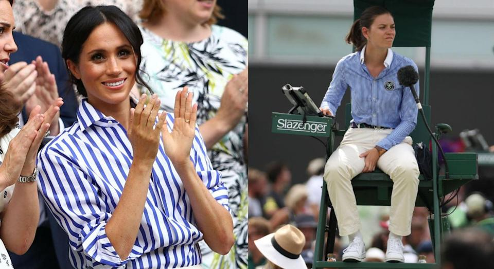 The Duchess's blue-and-white striped look may have been a nod to the tennis tournament. [Photo: Getty]