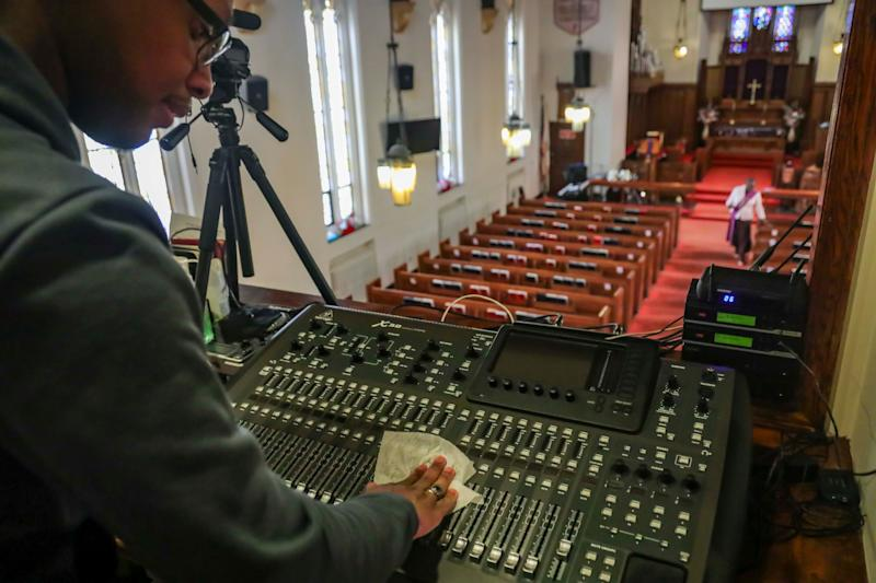 A livestream can help distribute content to the masses. Joseph Stoute, a multimedia technician, directed a livestream for congregants at a church in Brooklyn, on March 22, 2020 amid the coronavirus outbreak.