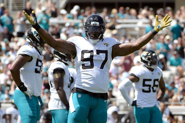 Defensive tackle Malik Jackson (97), cut by the Jaguars last week, has landed with the Eagles. (AP)