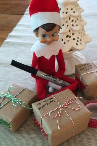 """<p>If he's going to live in your home, why not put him to work? In this fun idea, the Elf takes on a gift-wrapping task.</p><p><strong>Get the tutorial at <a href=""""http://www.rachelswartley.com/2014/01/02/the-rest-of-zippys-december-adventures/"""" rel=""""nofollow noopener"""" target=""""_blank"""" data-ylk=""""slk:Rachel Swartley"""" class=""""link rapid-noclick-resp"""">Rachel Swartley</a>.</strong></p><p><strong><a class=""""link rapid-noclick-resp"""" href=""""https://www.amazon.com/Brown-Jumbo-Kraft-Paper-Roll/dp/B077PBFKBW?tag=syn-yahoo-20&ascsubtag=%5Bartid%7C10050.g.22690552%5Bsrc%7Cyahoo-us"""" rel=""""nofollow noopener"""" target=""""_blank"""" data-ylk=""""slk:SHOP KRAFT PAPER"""">SHOP KRAFT PAPER</a><br></strong></p>"""