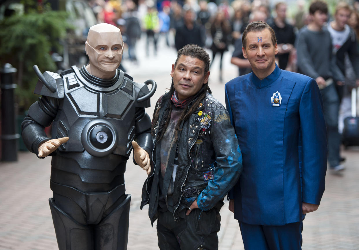 Robert Llewellyn, Craig Charles and Chris Barrie pictured outside the Prince Charles cinema in London, to mark the launch of Red Dwarf X, the new series of Red Dwarf which airs on Dave this October.