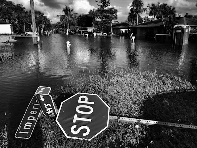 <p>A neighborhood under several feet of water Bonita Springs, Fla., a town hard hit by flooding in the aftermath of Hurricane Irma. (Photo: Holly Bailey/Yahoo News) </p>