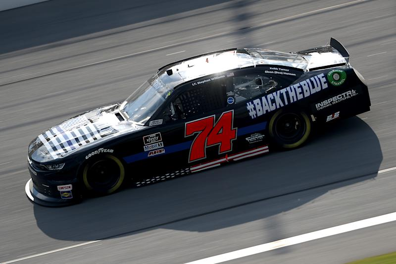 TALLADEGA, ALABAMA - JUNE 20: Mike Harmon, driver of the #74 Back The Blue Chevrolet, drives during the NASCAR Xfinity Series Unhinged 300 at Talladega Superspeedway on June 20, 2020 in Talladega, Alabama. (Photo by Chris Graythen/Getty Images)