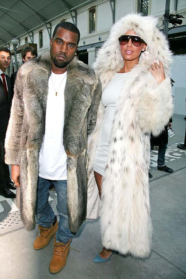 "Seriously, Kanye? How many cute little creatures had to meet their maker in order to create that hideous coat of yours? This is actually more disgusting than what you did to Taylor Swift at the 2009 VMAs. You should be ashamed of yourself! Julien Hekimian/<a href=""http://www.wireimage.com"" target=""new"">WireImage.com</a> - January 21, 2010"