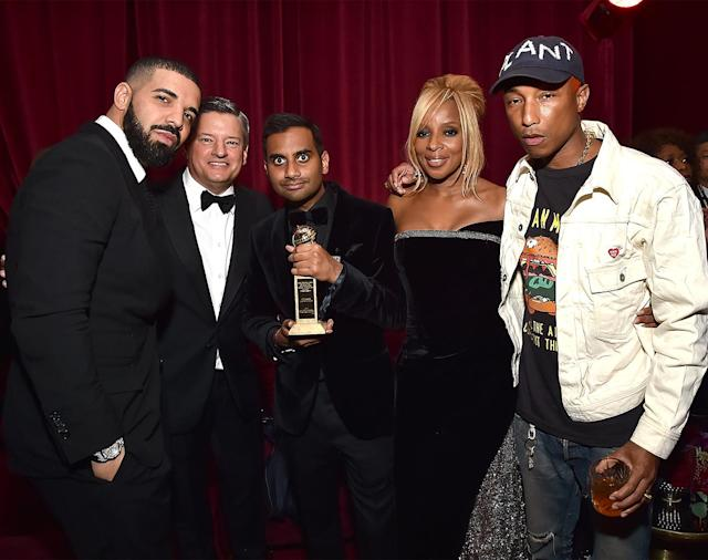 <p>Drake, Ted Sarandos, Aziz Ansari, Mary J. Blige, and Pharrell Williams attend the Netflix Golden Globes party. (Photo: Kevin Mazur/Getty Images for Netflix) </p>