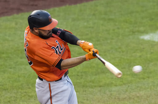 Baltimore Orioles' Renato Nunez hits a single during the fifth inning of the team's baseball game against the Baltimore Orioles in Washington, Saturday, Aug. 8, 2020. (AP Photo/Manuel Balce Ceneta)