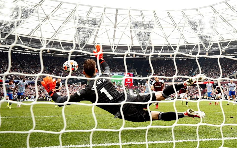 West Ham United's Mark Noble has his shot saved by Manchester United's David de Gea from the penalty spot - Reuters