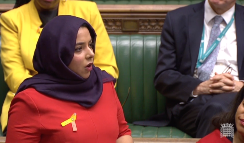 Apsana Begum spoke out against racism, and thanked her constituents in Poplar and Limehouse (ParliamentTV)