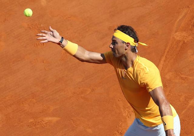 Rafael Nadal continued his bid for an 11th Monte Carlo Masters title by brushing aside Karen Khachanov (AFP Photo/VALERY HACHE)