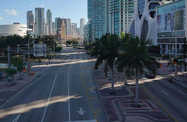 PHOTO: Biscayne Blvd., which is normally busy with traffic, is nearly empty as large numbers of people stay home in an effort to contain the coronavirus pandemic on March 24, 2020, in Miami. (Joe Raedle/Getty Images)